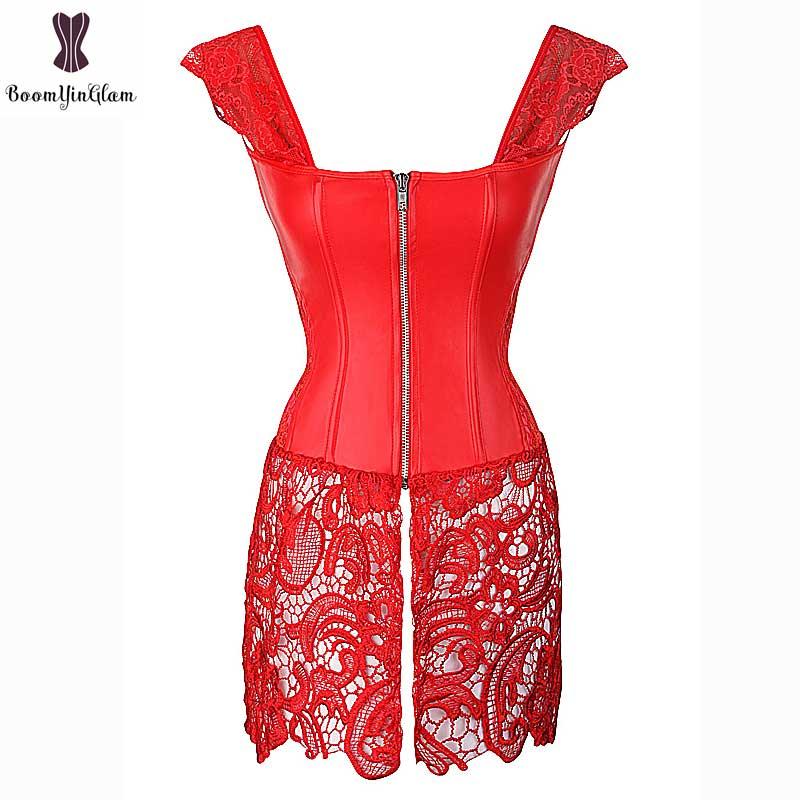 Corset Dress With Laciness Skirt Plus Size 6XL Steampunk Bustier Black Red Brown Corselet Faux Leather Outwear Dress Bone Korset 11