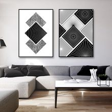 Abstract Canvas Poster Print Nordic Black and White Geometry Modern Wall Art Pictures For Living Room Unframed