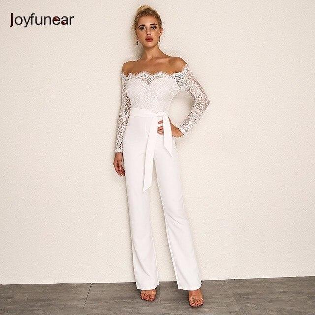 3d80e2507185 Joyfunear 2018 Summer Rompers Women Jumpsuit Sexy Ladies Casual Elegant  Lace Off shoulder Long Trousers Overalls