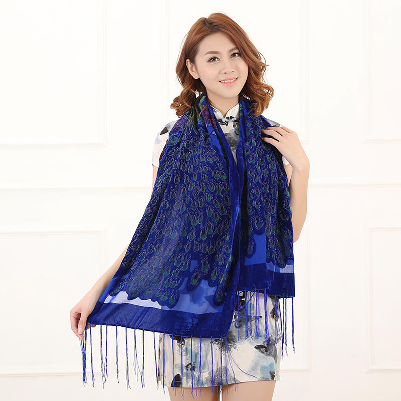 Image 4 - 12 Colors UK Peacock Velvet Shawl Women Scarf Fashion Winter Pashmina Poncho US Gift For Lady free shipping-in Women's Scarves from Apparel Accessories on AliExpress
