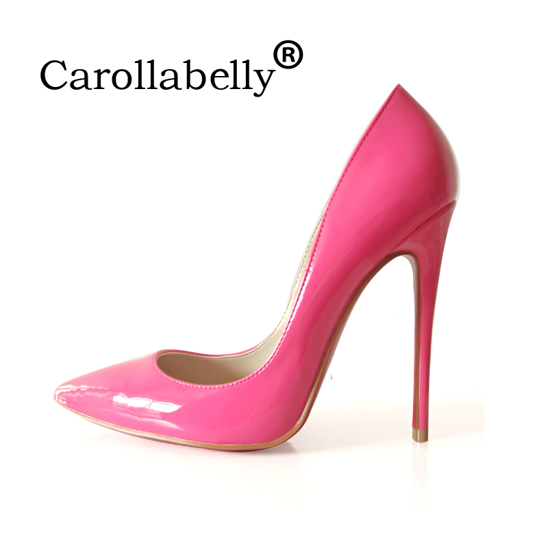 High Quality Sexy Women Pumps 10cm or 12cm Thin High Heels Wedding Party Shoes Patent Leather Large Size 34-43 women silver high heels wedding shoes elegant rhinestone thin heel 10cm 8 5cm patent leather sexy pumps elegant sexy shoes