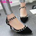 VALLKIN Large Size 11 12 Sexy Gray Beading Summer Wedding Women Shoes Thin High Heel Flock  Woman Pumps Ankle Strap Shoes