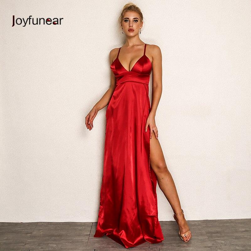 Joyfunear 2018 Women Red Long Dress High Split V neck Sexy ... Red Dresses For Women 2018