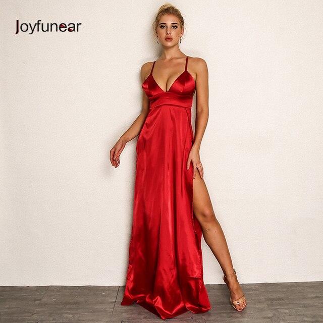 Joyfunear Rosso Maxi Vestito di Alta Split Sexy Abiti Donna Senza Maniche  Spaghetti Strap Lungo Patry 34d2873635a