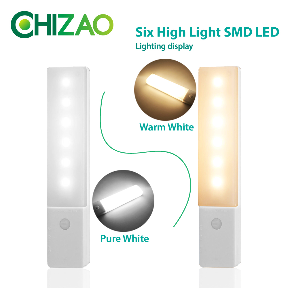CHIZAO Night light USB Charging Wireless motion sensor lamp 2 lighting colors Lighting for Closet Aisle Room Kitchen Toilet in LED Night Lights from Lights Lighting