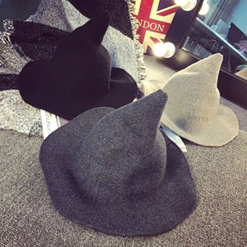 1 Piece Modern Halloween Witch Hat Woolen Women Lady Made From Fashionable Sheep Wool Halloween Party Hat