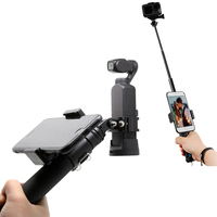 Aluminum holder Handheld selfie stick rod + tripod with mobile phone clip For DJI osmo Pocket gimbal & OSMO ACTION camera