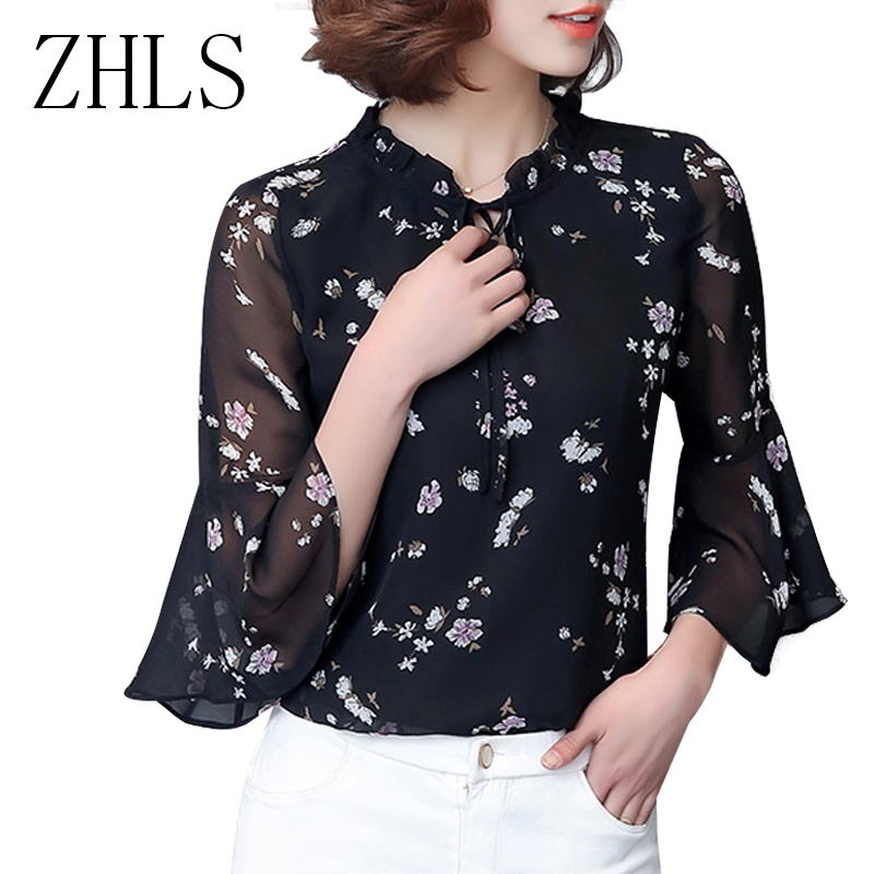5c8a7d2d5892b Print Chiffon Blouses Shirts Women Plus Size Casual Shirt Korean Fashion Clothing  Ruffles Flare Sleeve Floral Summer Tops Blusa