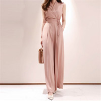 2019 Summer Women Fashion Elegant Office Lady Workwear Formal Party Romper Side Wide Leg Jumpsuit