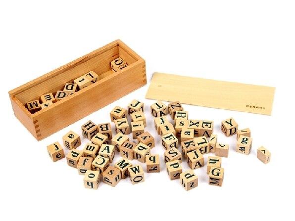Enfant avance jouets 62 pièces Alphabet blocs en bois naturel ABC blocs éducatifs jouets cadeau