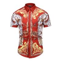 Seestern brand new summer men European American Printing 3D shirt high quality red slim fancy short sleeve shirt Asian size tops