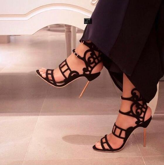 2018 Newest Cut Out Leather Straps Women Sexy Sandals Fashion Open Toe Ladies Summer High Heels Elegant Style Wedding Shoes цена