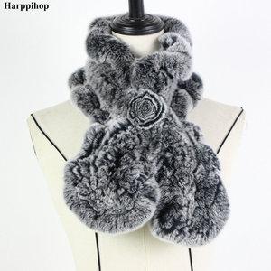 Image 4 - 2018 レックスウサギの毛皮のスカーフファッションネックウォーマー女性リアルファーショールロシア 100% 自然毛皮スカーフラップ冬 * Harppihop