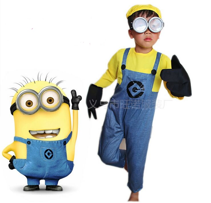 kids cosplay costume boy girls gift Despicable Me Kids Costume Minions Cloth Mini Corps Performance Clothing Cute With Glasses