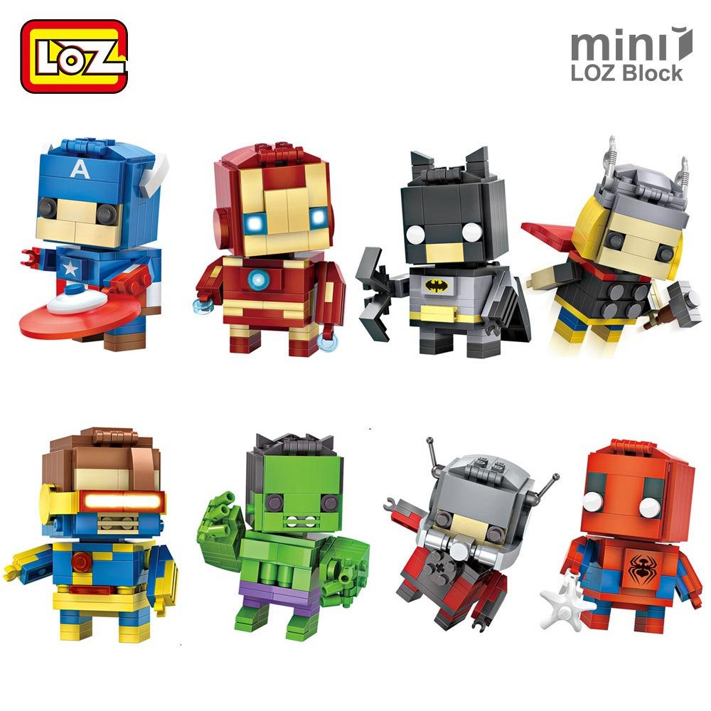 LOZ Superhero Building Blocks Figures Bricks Kids Assembly Toys Educational Character Super Heroes Boy Gift Cheap Toys Children 12pcs set children kids toys gift mini figures toys little pet animal cat dog lps action figures