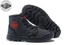 Палладиевые парусиновые плюшевые зимние теплые ботинки, мужские ботинки, ковбойские ботильоны, модная винтажная парусиновая повседневная обувь, размеры 39 45