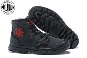 Image 1 - PALLADIUM Pampa płótno pluszowe buty zimowe ogrzewanie mężczyźni Botas kowbojskie botki moda w stylu Vintage płótno obuwie rozmiar 39 45