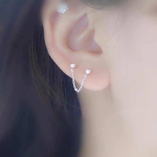 Argent Femme Boucles d/'oreilles 925 Sterling Silver Double Teardrop Ouvert Boucle d/'oreille