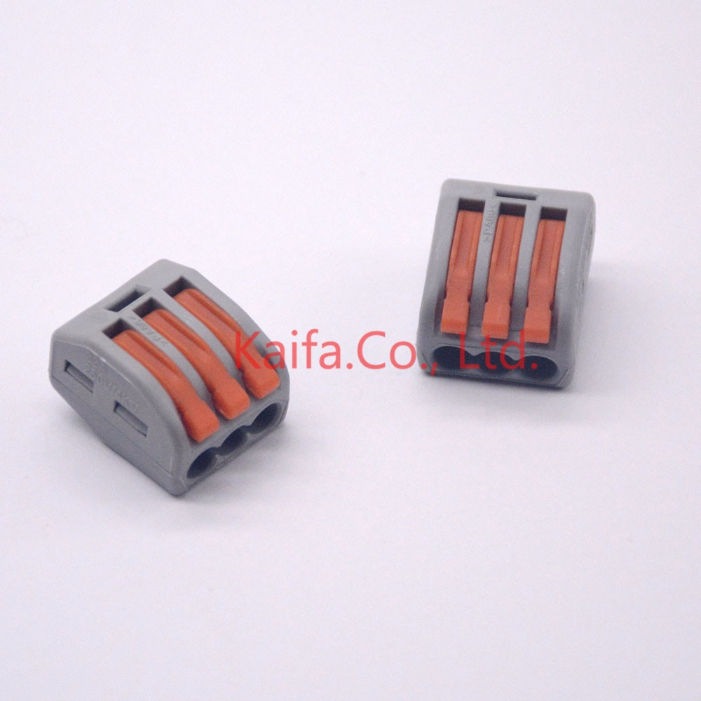 (10 pieces/lot)   222-413 Universal Compact Wire Wiring Connector 3 pin Conductor Terminal Block With Lever AWG 28-12