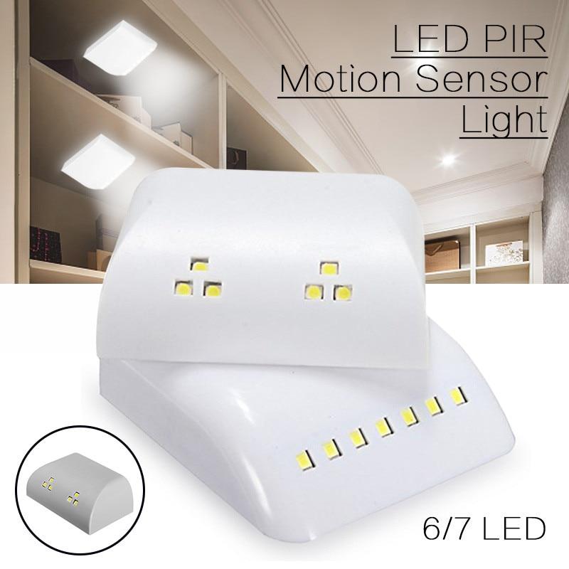 PIR Motion Sensor Night Lamp Battery Powered Intelligent LED Night Light With Motion Sensor For Wardrobe Drawer Bedroom A