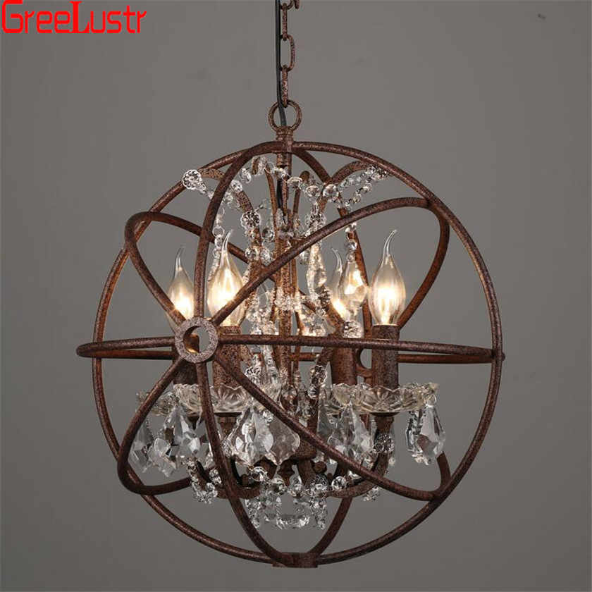 Vintage Chandelier for Dining room Bedroom Kitchen Led Lustres Hanging light E14 Iron Ball Chandeliers Pending Lighting Fixtures