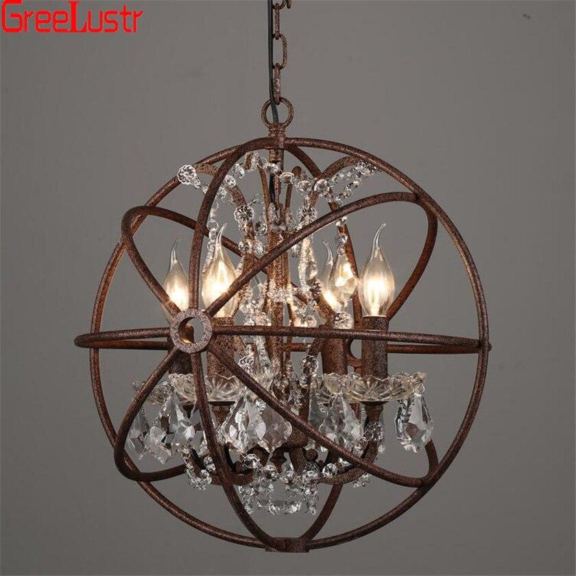 Lustre Vintage pour salle à manger chambre cuisine Led Lustres suspendus lumière E14 fer boule Lustres en attente luminaires