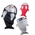 2 Sizes Cartoon Shark Baby Boy Girl Sleeping Sack Newborns Sleeping Bag Winter Stroller Bed Winter Cotton Baby Sleeping Bag