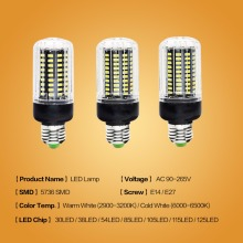 JJD E27 LED Lamp E14 LED Corn Bulb Lampada 24 36 48 56 69 72LEDs Chandelier Candle LED Light SMD5730 220V For Home Decoration