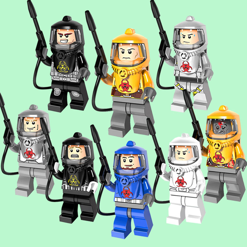 CZHY Building Blocks Fire-fighting Anti-chemical Clothers Zombie SuperHero Bricks Dolls Kids DIY Toys Hobbies PG8081 Figures