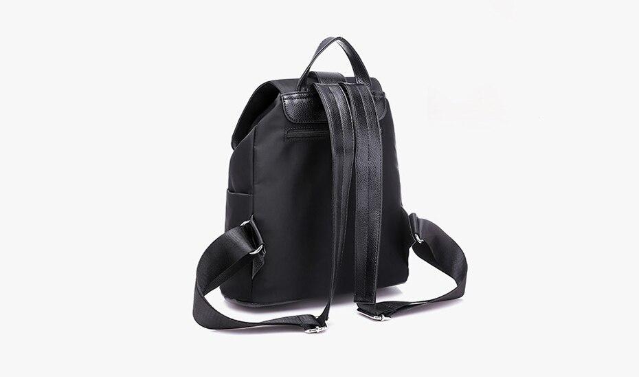 Women Backpack School Bags For Teenager Girls Nylon Zipper Lock Design Black Femme Mochila Backpack black one size 18
