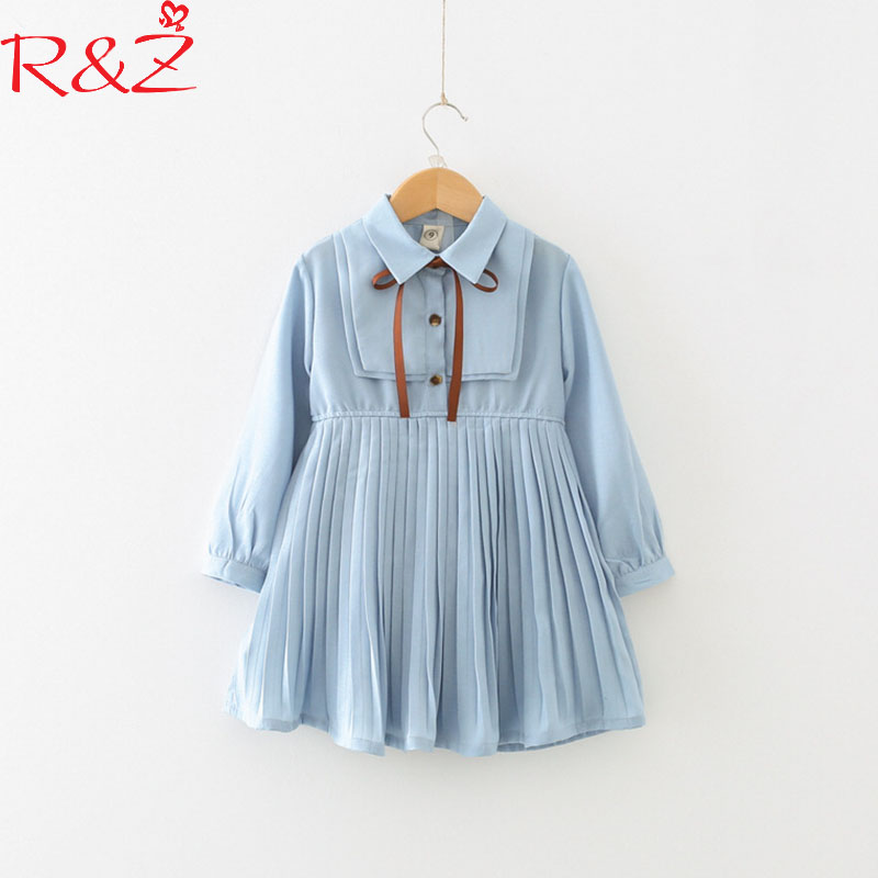R&Z Girls Clothing 2018 New Spring Cotton Chiffon Lapel Tie Longsleeve Pleated College Dresses for Kids Children's Clothing k1 lolita frilled pleated bell sleeve bow tie chiffon blouse