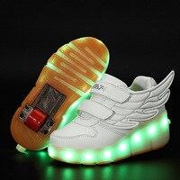 Nuovo 2017 di Modo di alta qualità per bambini casual scarpe USB ricaricato Ala LED ragazzi delle neonate scarpe di alta moda bambini sneakers