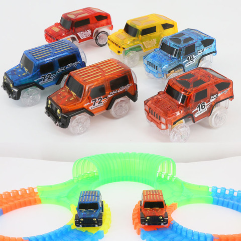 LED Light up Cars for Tracks Electronics Car Toys With Flashing Lights Fancy DIY Toy Cars For Kid Tracks parts Car for Children Lahore