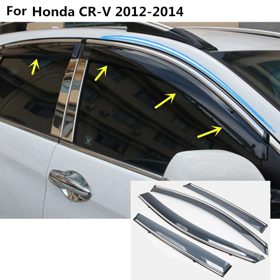 Car body stick lamp plastic window glass wind visor rain sun guard vent part 4pcs