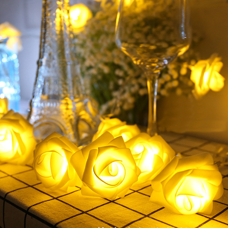 10 Led 20 Leds Romantic Rose Flower String Light For Holiday Wedding Xmas New Year Home Dedroom Table Decor AA Battery Garland (7)