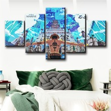 5 Piece Anime Portgas D. Ace ONE PIECE Canvas Posters Painting Wall Pictures Modern Decorative Prints For Living Room Home Decor