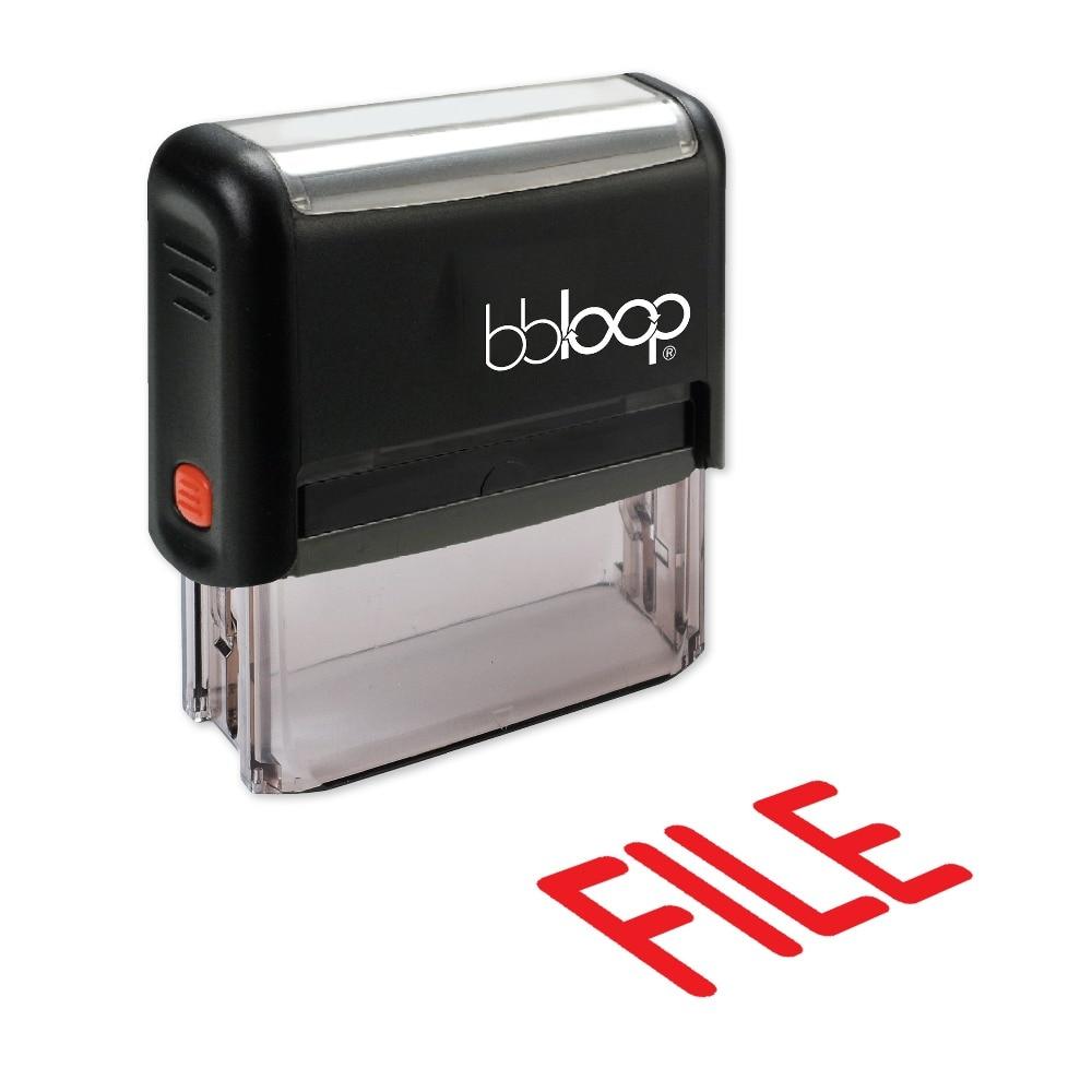 BBloop FILE Bold Self-Inking Stamp, Rectangular, Laser Engraved, RED/BLUE/BLACK 10 digit 9 wheels gray light blue rubber band self inking numbering stamp