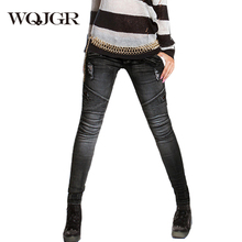 WQJGR 2019 Summer Skinny Black Jeans Woman Holes Elasticity Cowboy Pencil Pants Locomotive Denim Plus Size