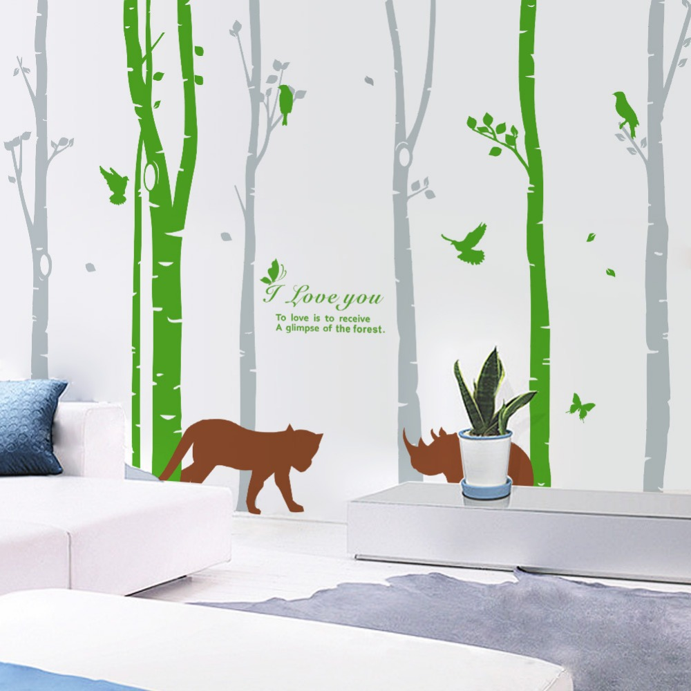 Wall Decor Stickers For Living Room Forest Birds Wall Stickers Home Decor Tree Living Room Decoration