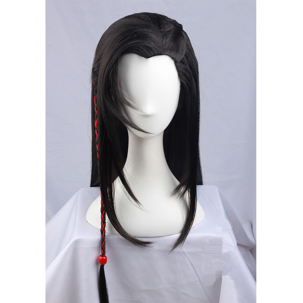 80cm long black vintage hair for men swordsman cosplay prince cosplay hair china ancient dynasty warriors