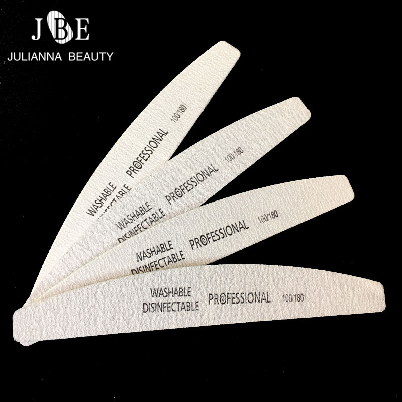 4Pcs/Lot Professional Nail File 100/180 Sanding Files Buffer Block Manicure Sandpaper Foam UV Gel Nail Art File Tools Grey Boat