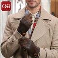 GSG Марка 2016 Новый Мужчины Овчины Натуральной Кожи Перчатки Зима Сенсорный Экран Перчатки Высокого Качества Теплый Подкладка Случайные Короткие Перчатки