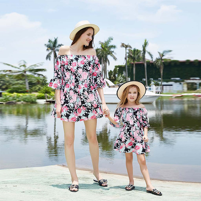 Mom daughter clothes Ladies lady Boho Seaside Summer time Floral Sundress mommy and me garments household look matching Outfit Matching Household Outfits, Low cost Matching Household Outfits, Mom daughter...