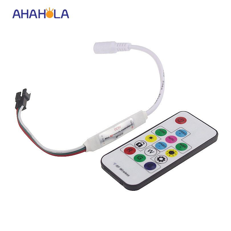 SP103E WS2812B controller 5v mini rf sk6812 ws2811 ws2812 controller dimmer for rgb pixel strip 300 mode max control 2048 pixels