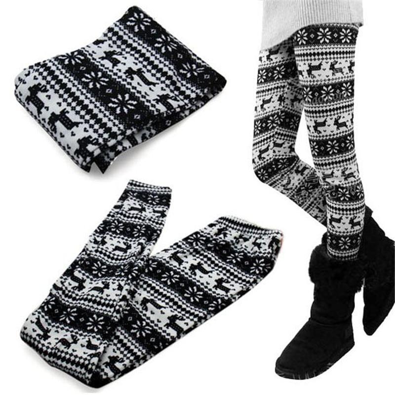 Women  Winter Warm  Retro Knitted Snowflakes Pants Multi-Colors Figure Leggings Pants