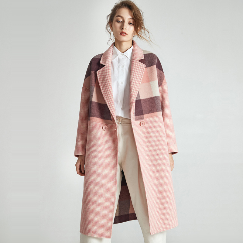 Розовое кашемировое шерстяное лоскутное Женское пальто
