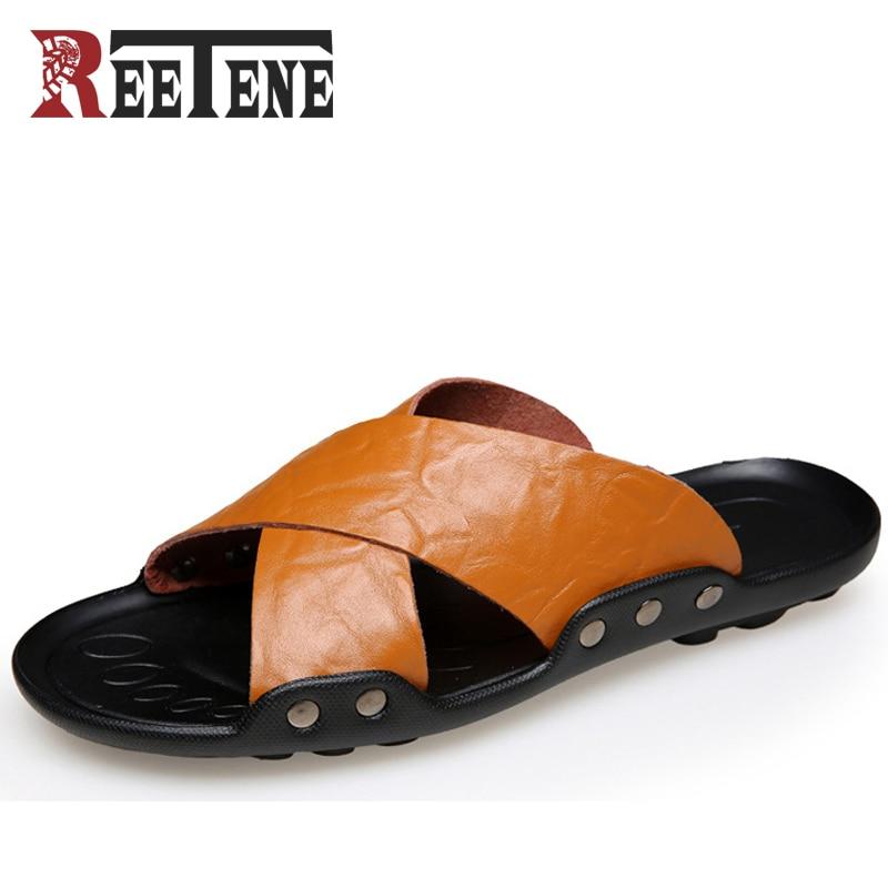 REETENE Slip On Men Sandals Beach Sandals Summer Shoes For Men Pu Leather Shoes Breathable Men Seakers Plus Size 38-48