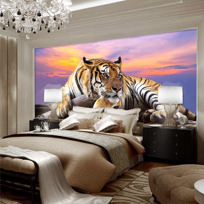 Popular wallpaper tiger buy cheap wallpaper tiger lots for Mural 3d wallpaper