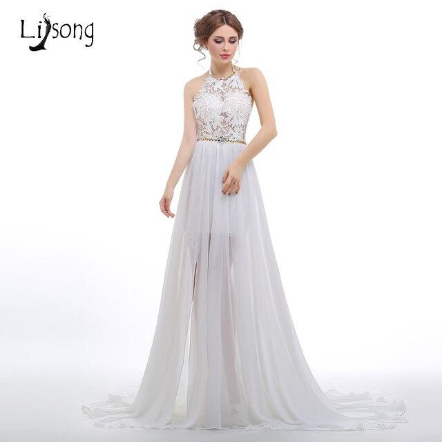 Sexy Backless Wedding Dress With Halter Neckline A Line Shiny