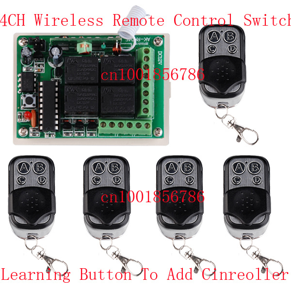 1 Receiver & 5Transmitter FR Wireless Remote Control switch system with 4CH DC12V Multifunctional wireless Module new restaurant equipment wireless buzzer calling system 25pcs table bell with 4 waiter pager receiver